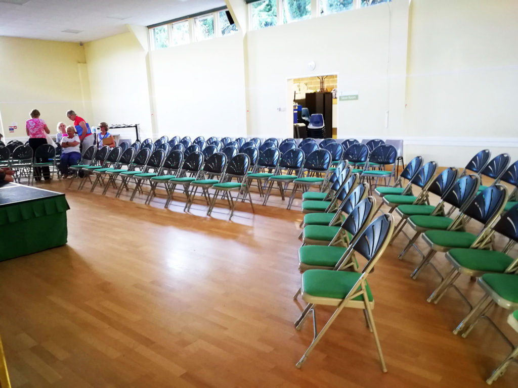 Linden Hall laid out for Community Choir with portable staging